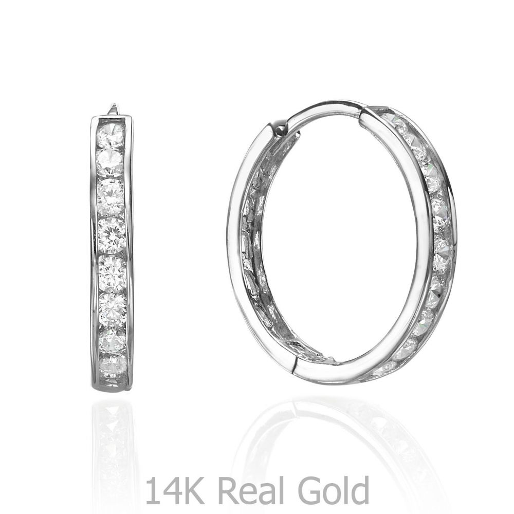 08b716879 White Gold Hoop Earrings - Ivanka. youme offers a range of 14K gold ...