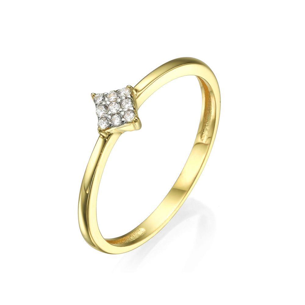 Women's Gold Jewelry | Ring in 14K Yellow Gold - Shiny Rhombus
