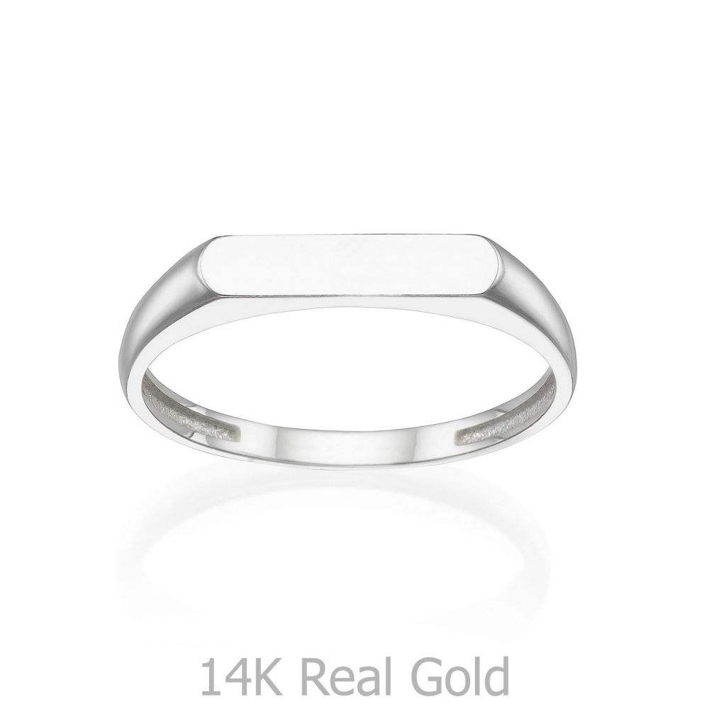 Women's Gold Jewelry | Ring in 14K White Gold - Signet