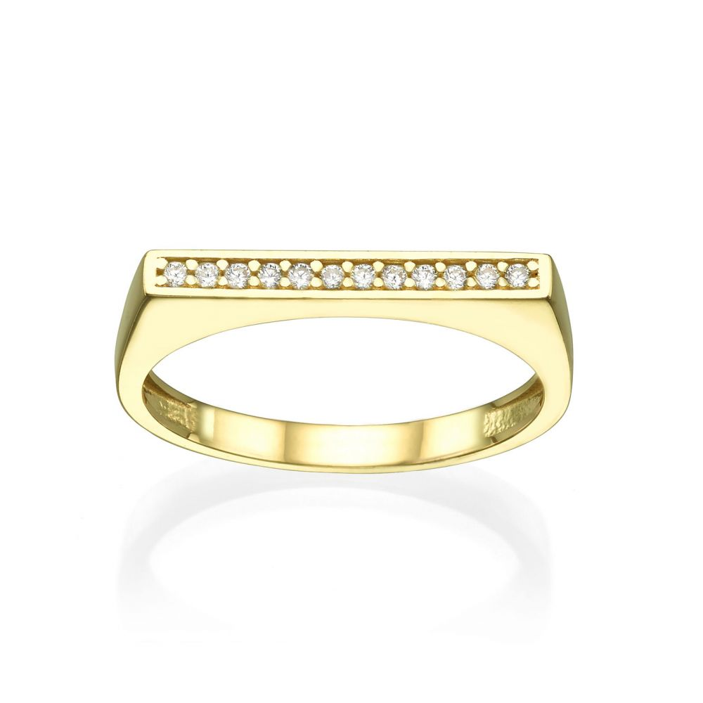 Women's Gold Jewelry | Ring in 14K Yellow Gold - Zirconia line