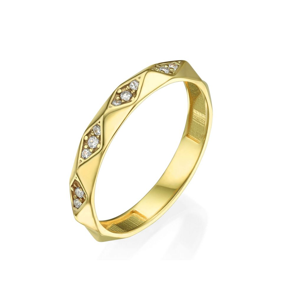 Women's Gold Jewelry | Ring in 14K Yellow Gold - Pyramids