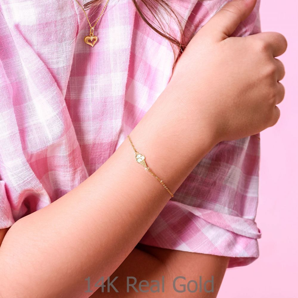 Girl's Jewelry | 14K Gold Girls' Bracelet - Ice Cream Cone: Pink
