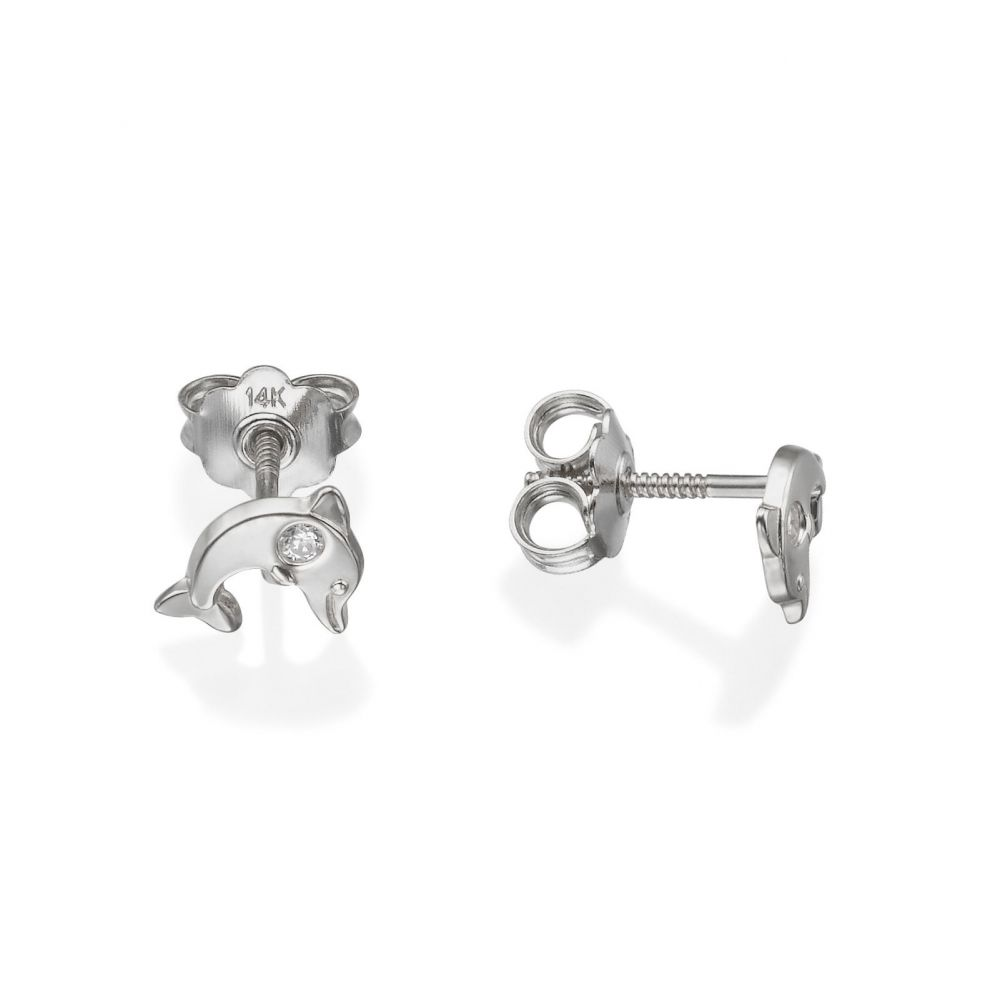 Girl's Jewelry | 14K White Gold Kid's Stud Earrings - Sparkling Dolphin
