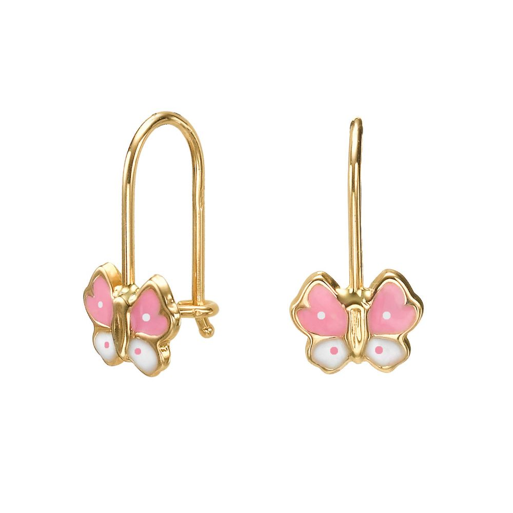 Girl's Jewelry | Dangle Earrings in14K Yellow Gold - Gilly Butterfly