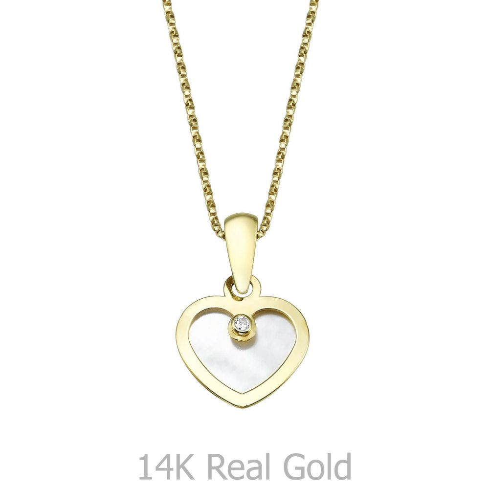 Girl's Jewelry | Pendant and Necklace in Yellow Gold -  Enraptured Heart