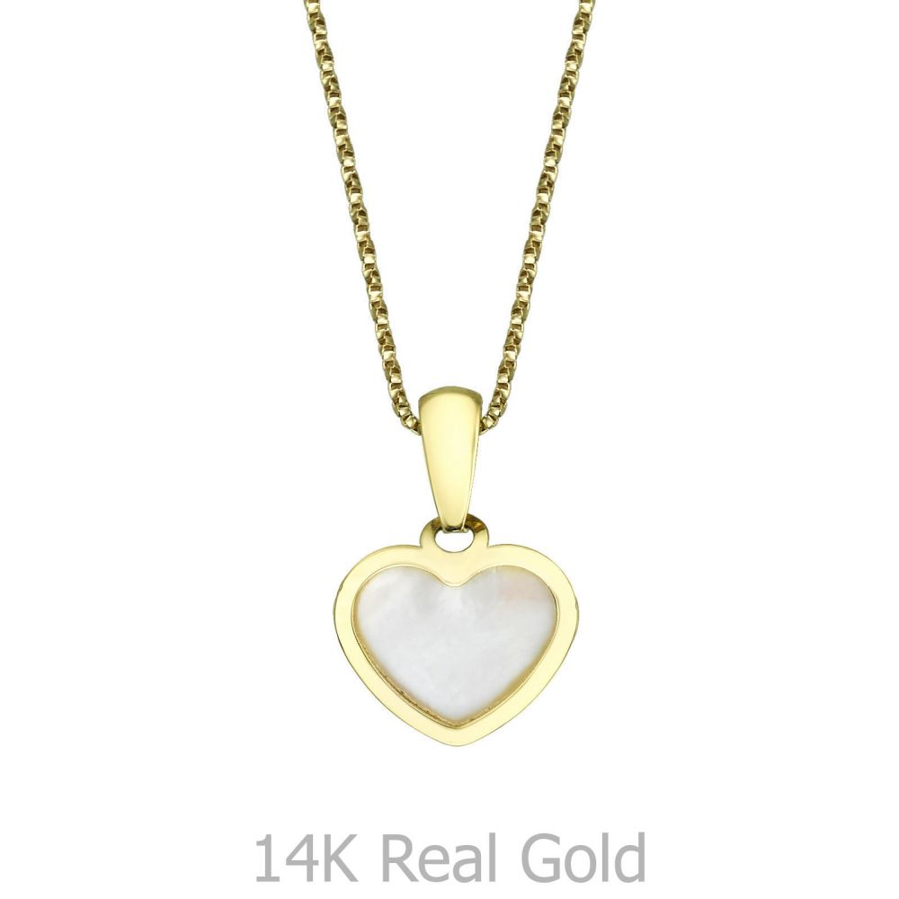 Girl's Jewelry | Pendant and Necklace in Yellow Gold -  Golden Pearl Heart