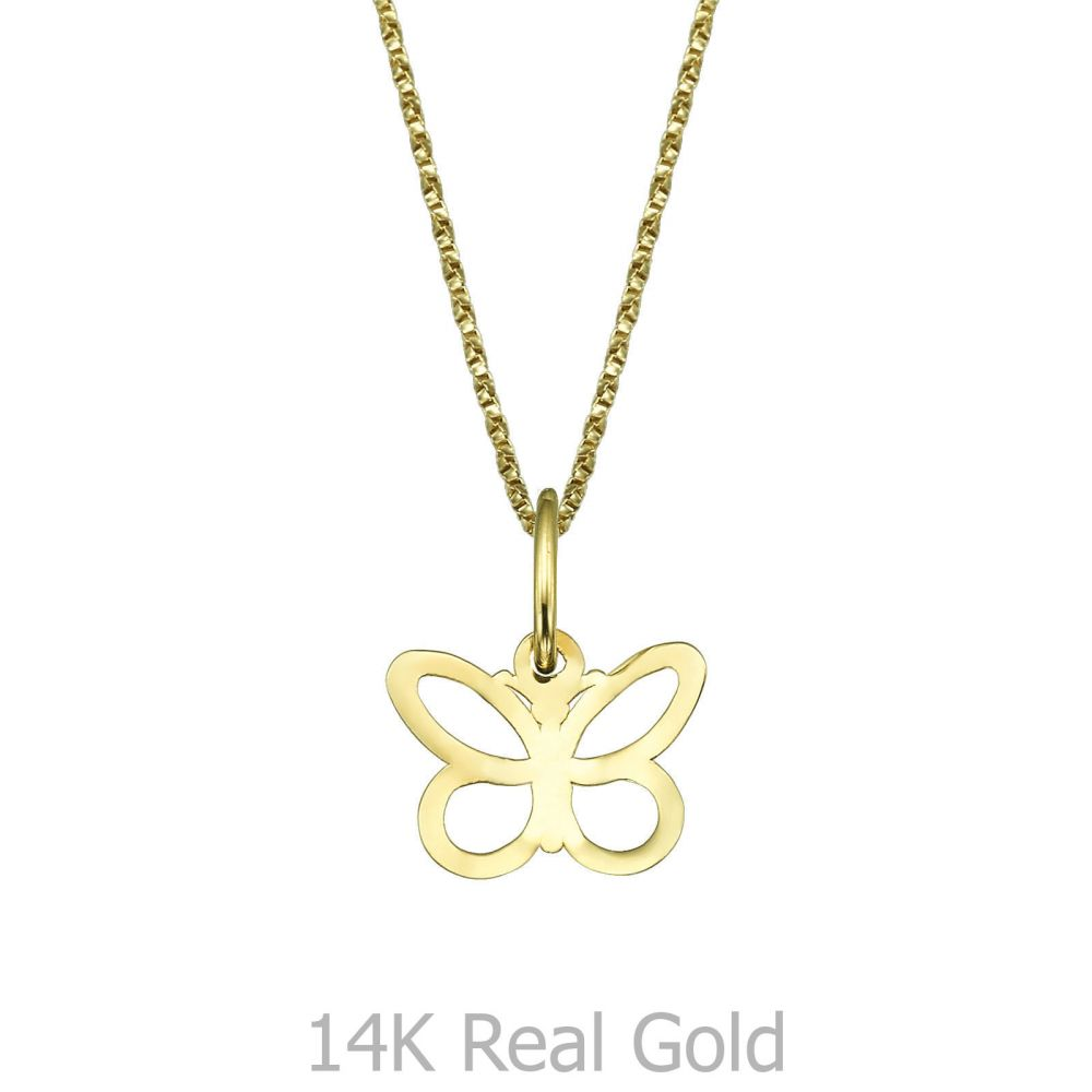 Girl's Jewelry   Pendant and Necklace in Yellow Gold - Fluttering Butterfly