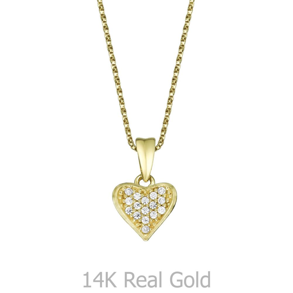 Girl's Jewelry   Pendant and Necklace in Yellow Gold - Loving Heart