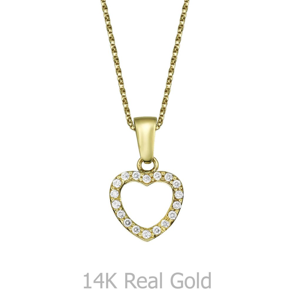 Girl's Jewelry   Pendant and Necklace in Yellow Gold - Royal Heart