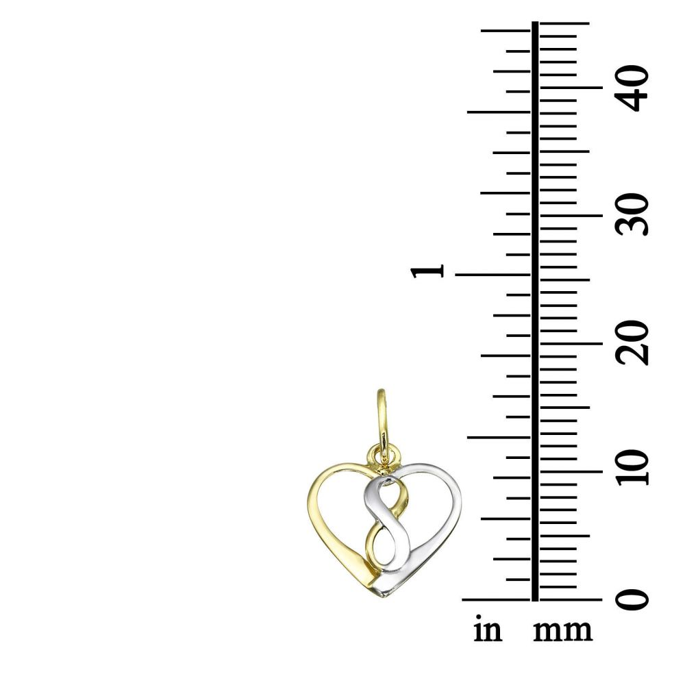 Girl's Jewelry   Pendant and Necklace in Yellow and White Gold - Cosmic Heart