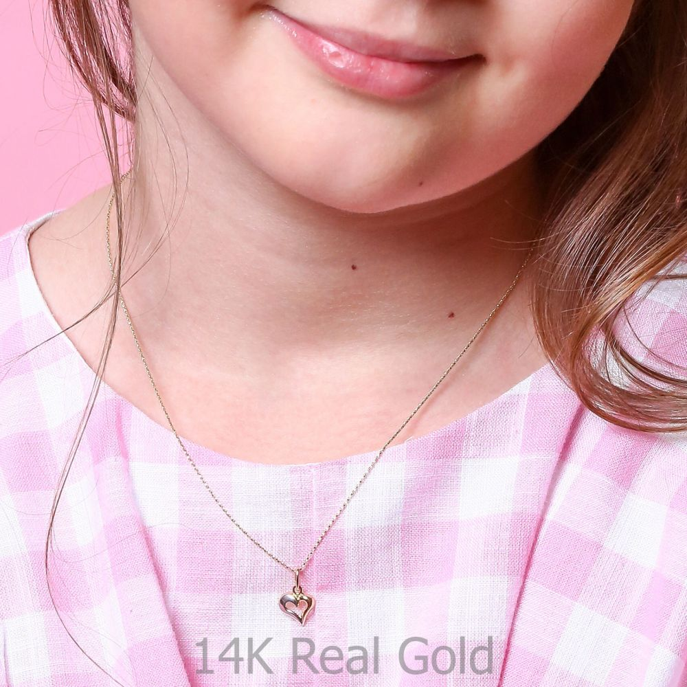 Girl's Jewelry | Pendant and Necklace in Yellow and White Gold - United Heart