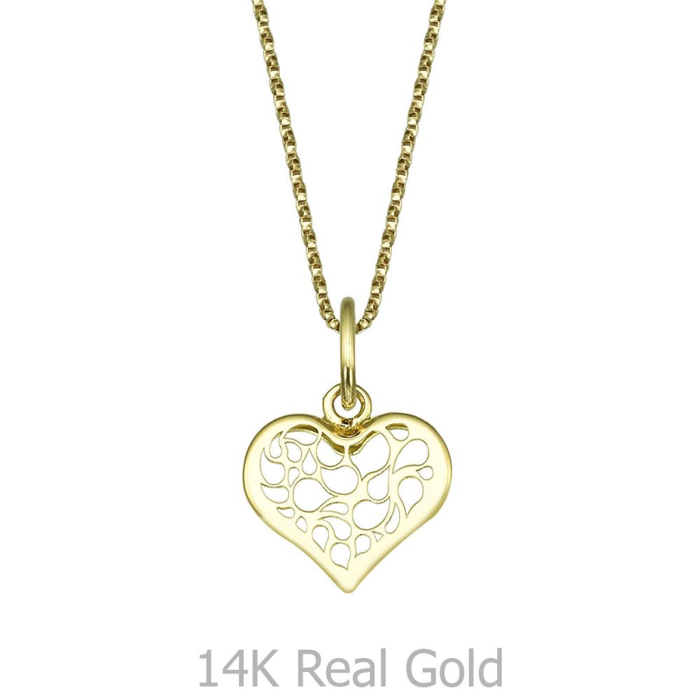Girl's Jewelry   Pendant and Necklace in Yellow Gold - Abstract Heart