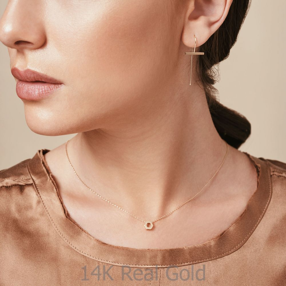 Women's Gold Jewelry | Pendant and Necklace in 14K Yellow Gold - Golden Hexagon