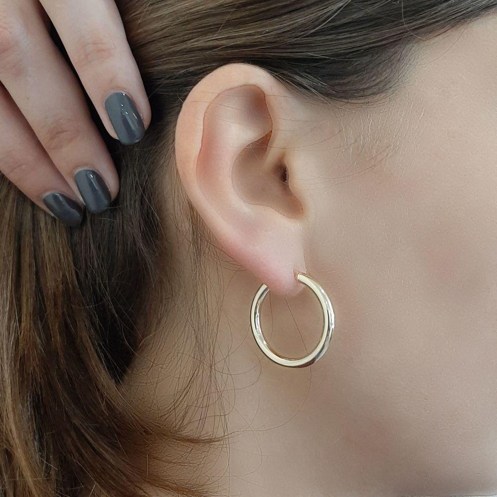 Women's Gold Jewelry   Hoop Earrings in 14K Yellow Gold - M (thin)