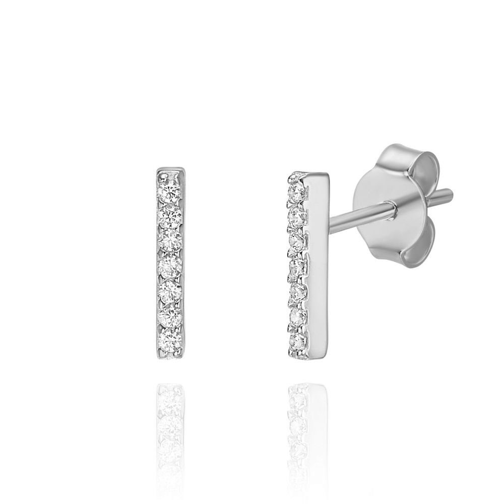 Women's Gold Jewelry | 14K White Gold Stud Earrings - Shining Golden Bar