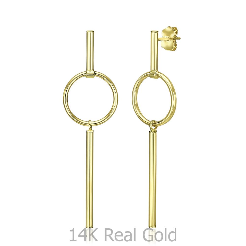 Women's Gold Jewelry   14K Yellow Gold Dangle Earrings - Tokyo