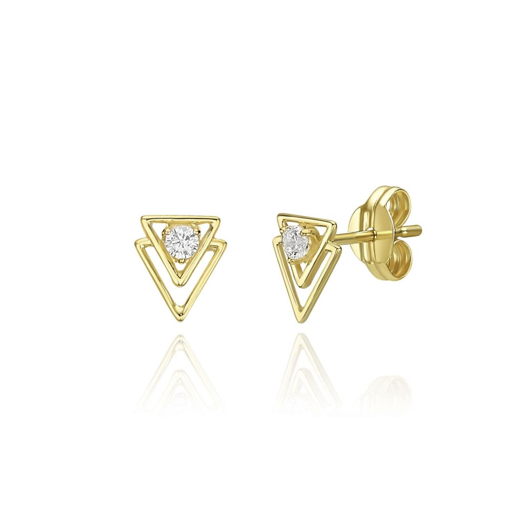 Women's Gold Jewelry | 14K Yellow Gold  Stud Earrings - Pyramids