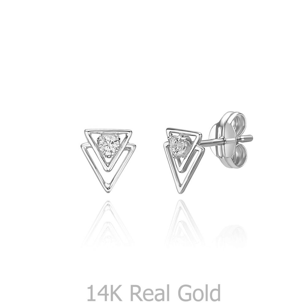 Women's Gold Jewelry | 14K White Gold  Stud Earrings - Pyramids