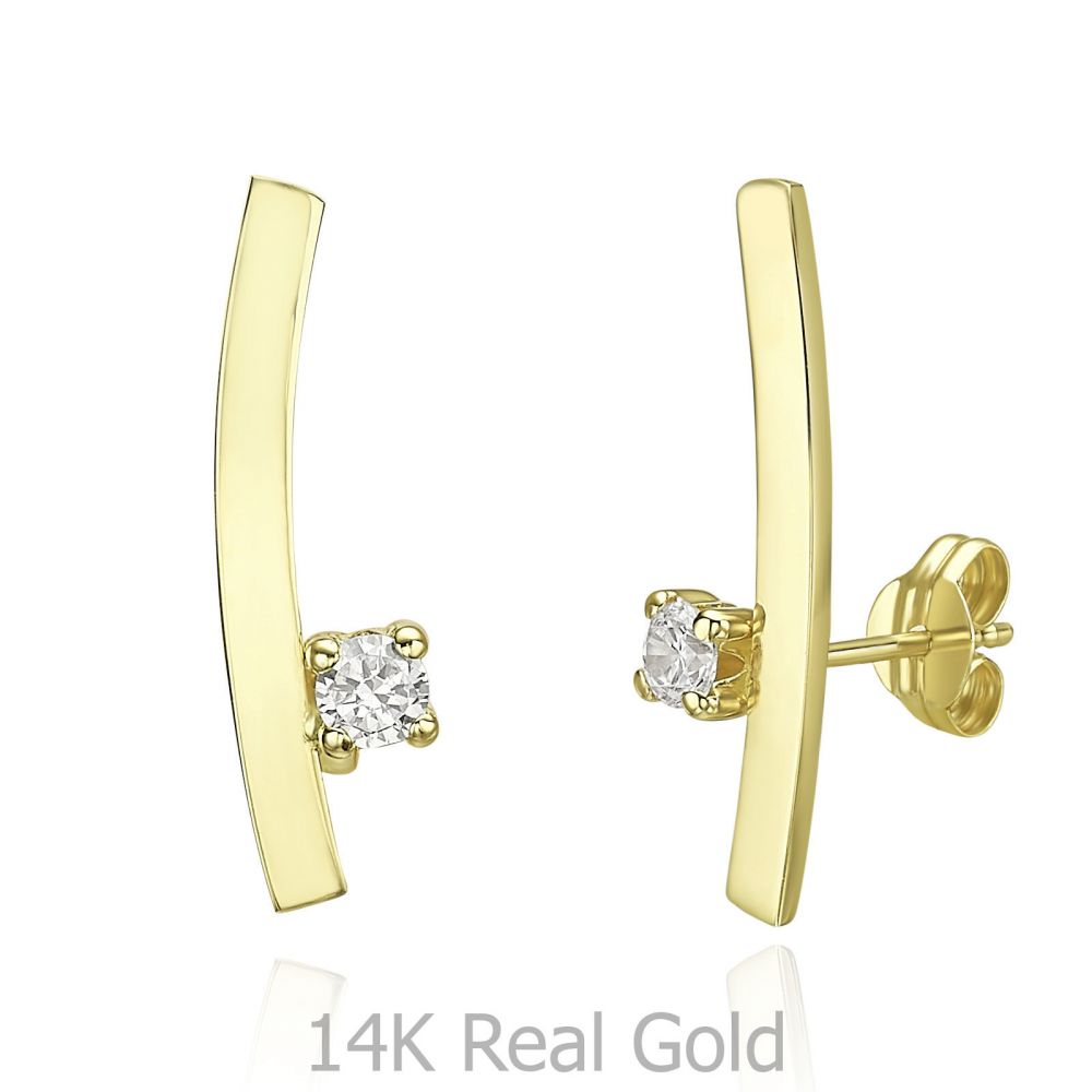 Women's Gold Jewelry | 14K Yellow Gold Climbing Earrings- Sunshine