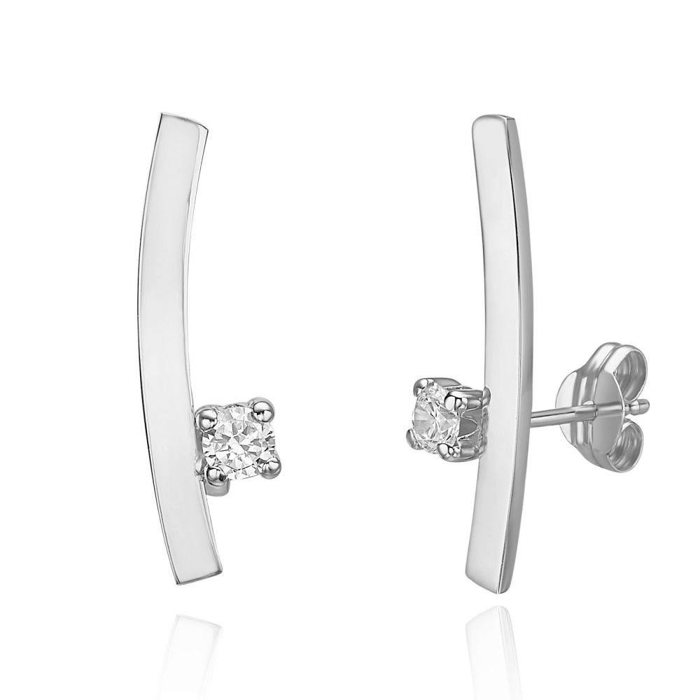 Women's Gold Jewelry | 14K White Gold Climbing Earrings - Sunshine