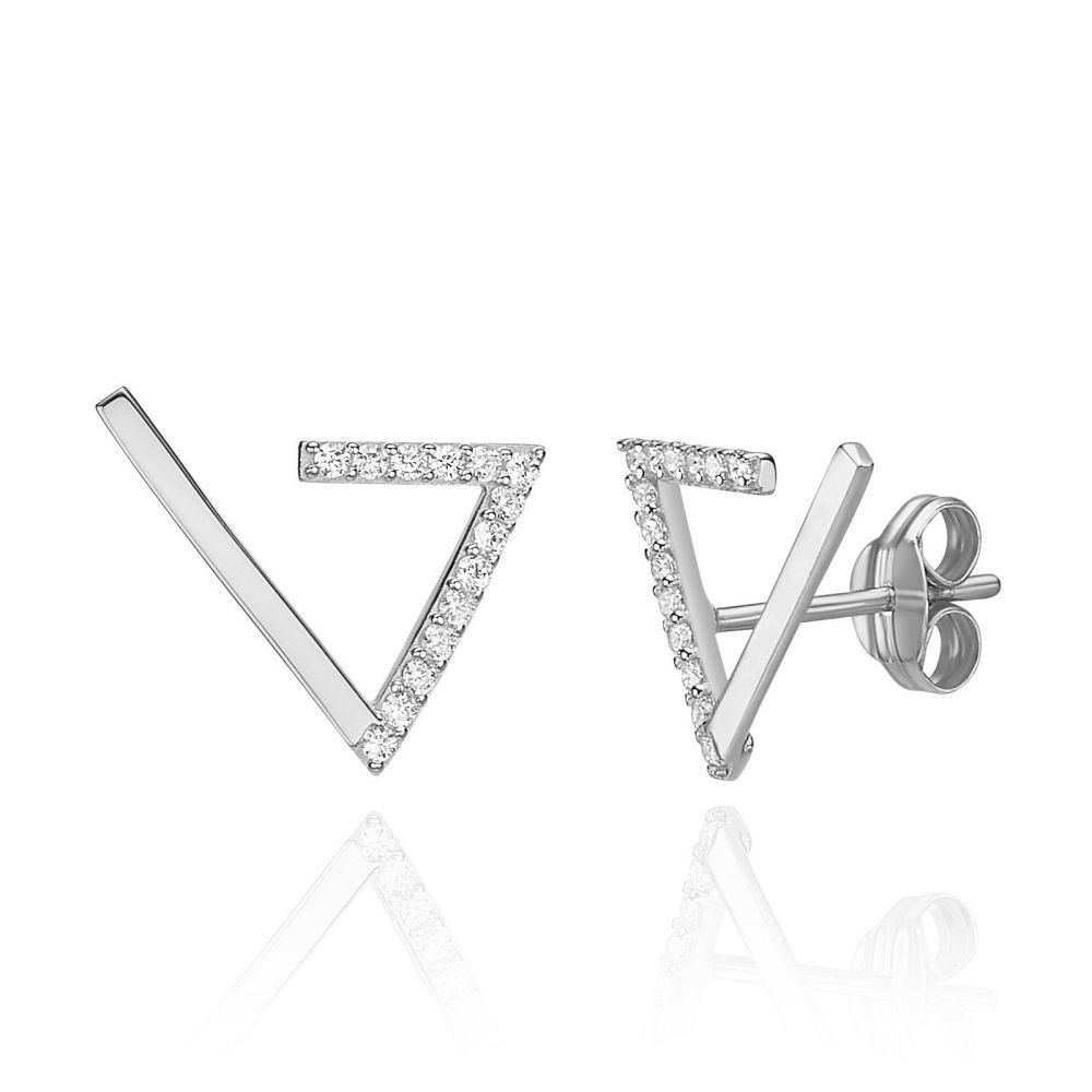 Women's Gold Jewelry | 14K White Gold Climbing Earrings - Cleopatra