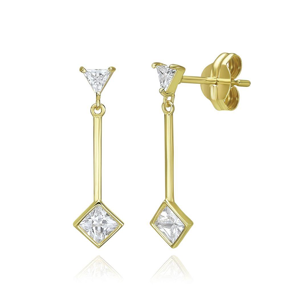 Women's Gold Jewelry   14K Yellow Gold Dangle Earrings - Sunlight