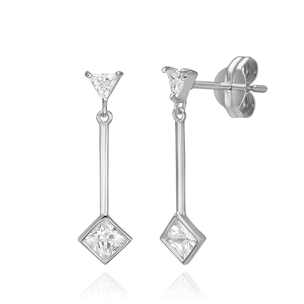 Women's Gold Jewelry | 14K White Gold Dangle Earrings - Sunlight