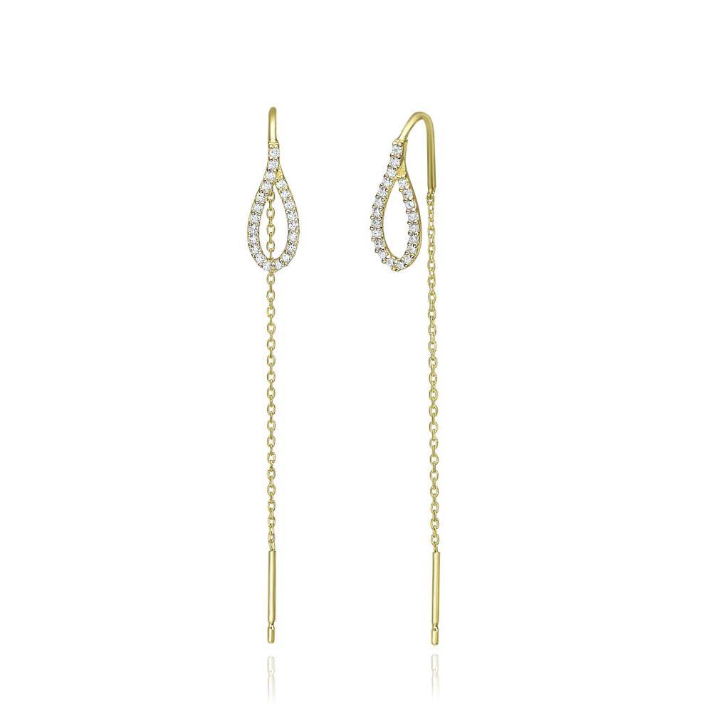 Women's Gold Jewelry | 14K Yellow Gold Dangle Earrings - Shining Drop