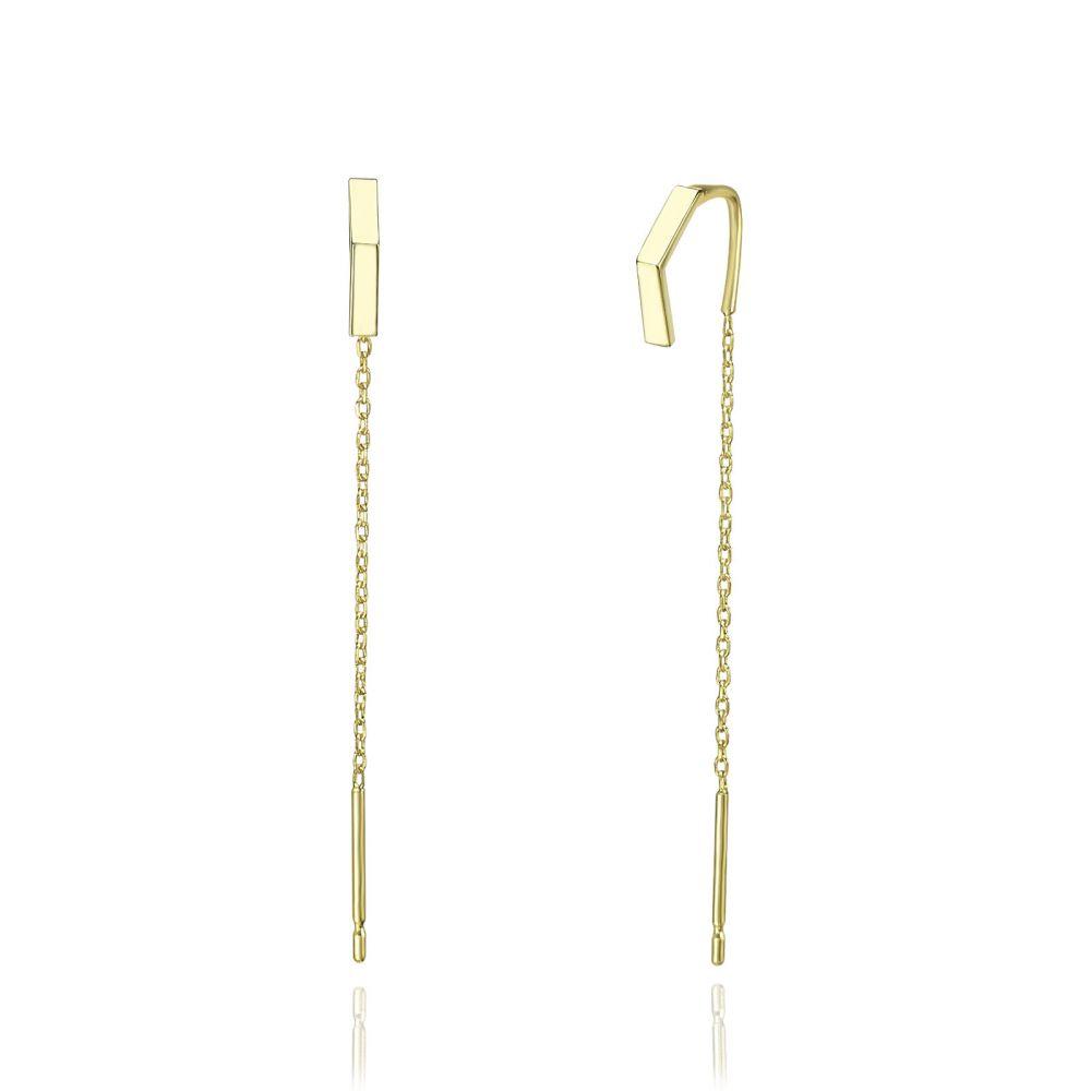 Women's Gold Jewelry | 14K Yellow Gold Dangle Earrings - Open Triangle