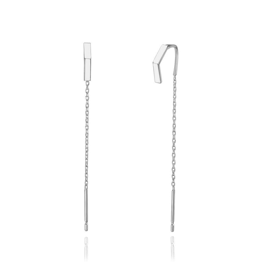Women's Gold Jewelry   14K White Gold Dangle Earrings - Open Triangle