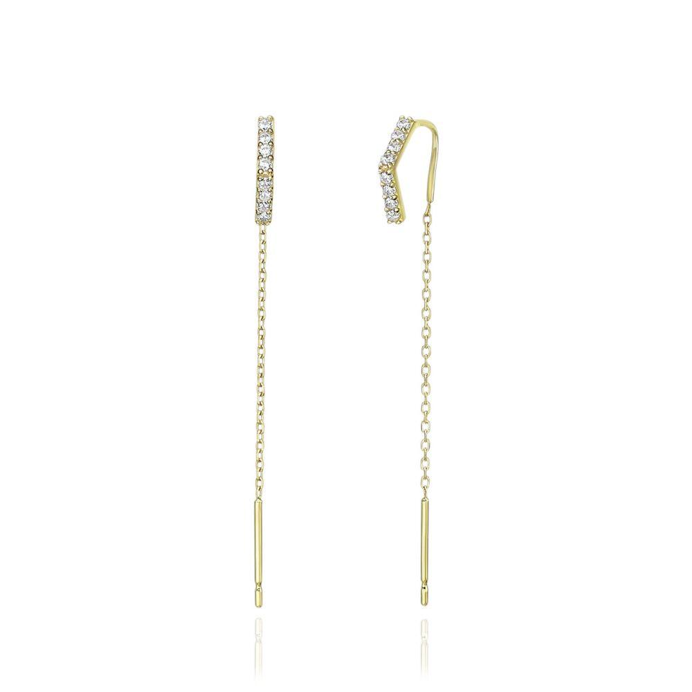 Women's Gold Jewelry | 14K Yellow Gold Dangle Earrings- Shining Triangle