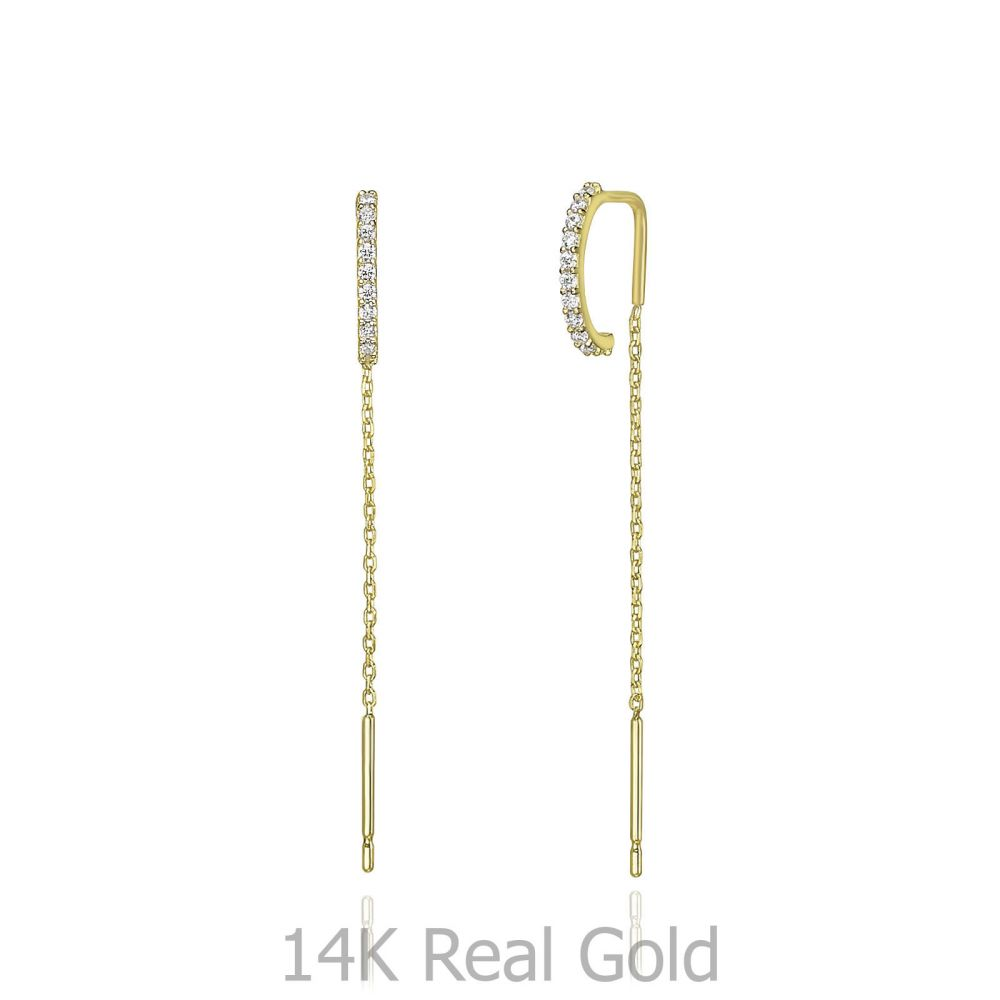 Women's Gold Jewelry   14K Yellow Gold Dangle Earrings - Shinig spirit