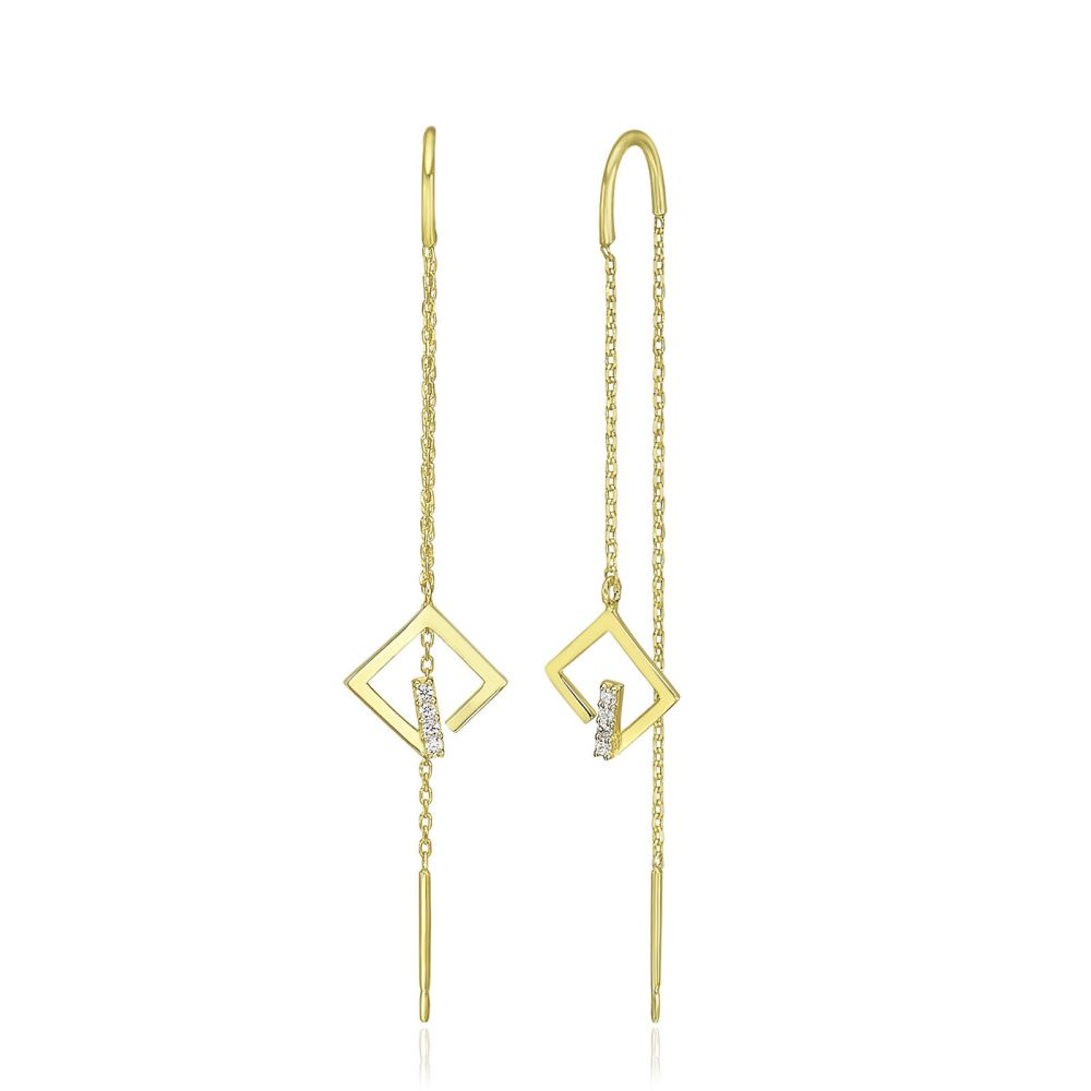 Women's Gold Jewelry | 14K Yellow Gold Dangle Earrings - Sparkling Grace