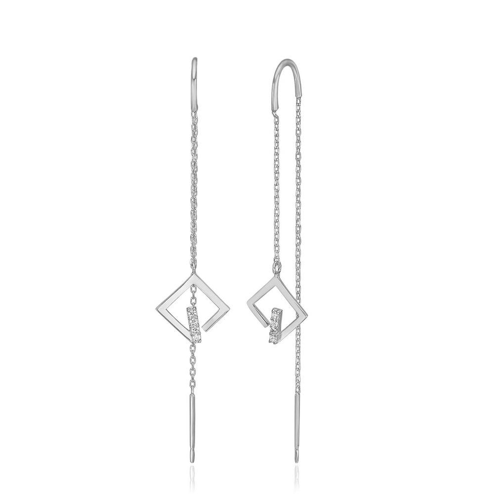 Women's Gold Jewelry | 14K White Gold Dangle Earrings - Sparkling Grace
