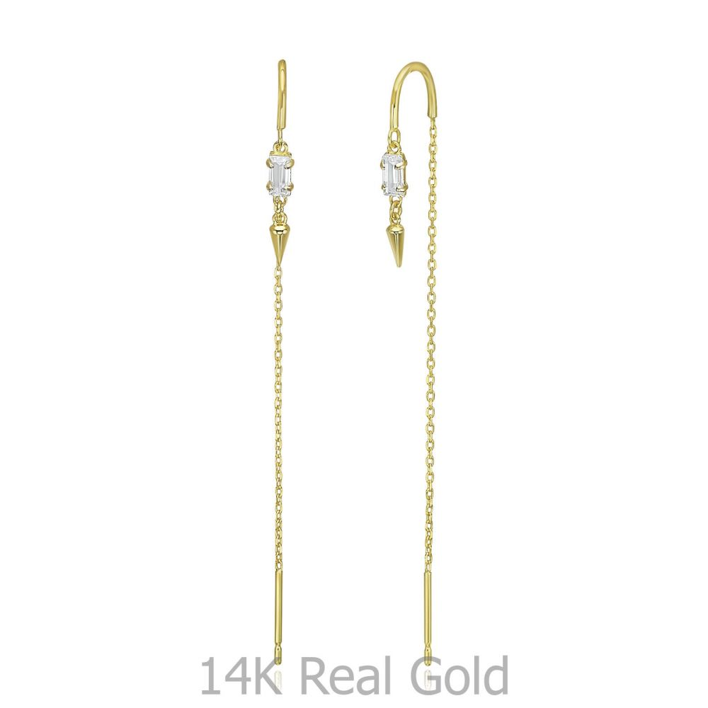 Women's Gold Jewelry | 14K Yellow Gold Dangle Earrings - Shanghai