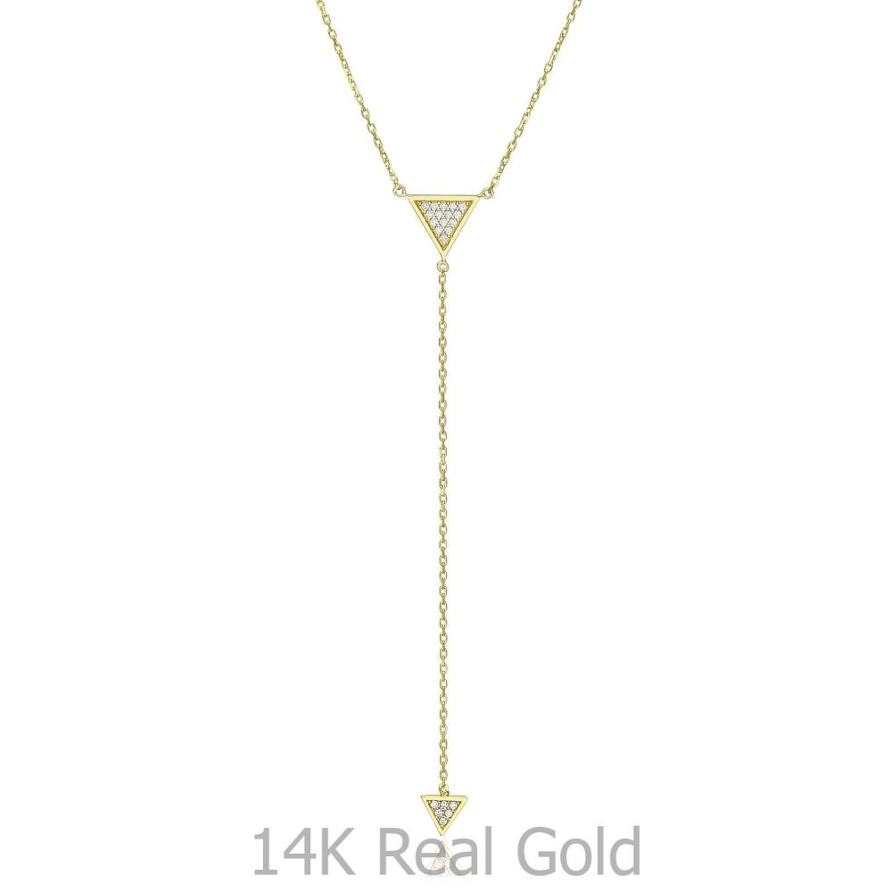 Women's Gold Jewelry | 14k Yellow gold women's pendant  - Dangling pyramid