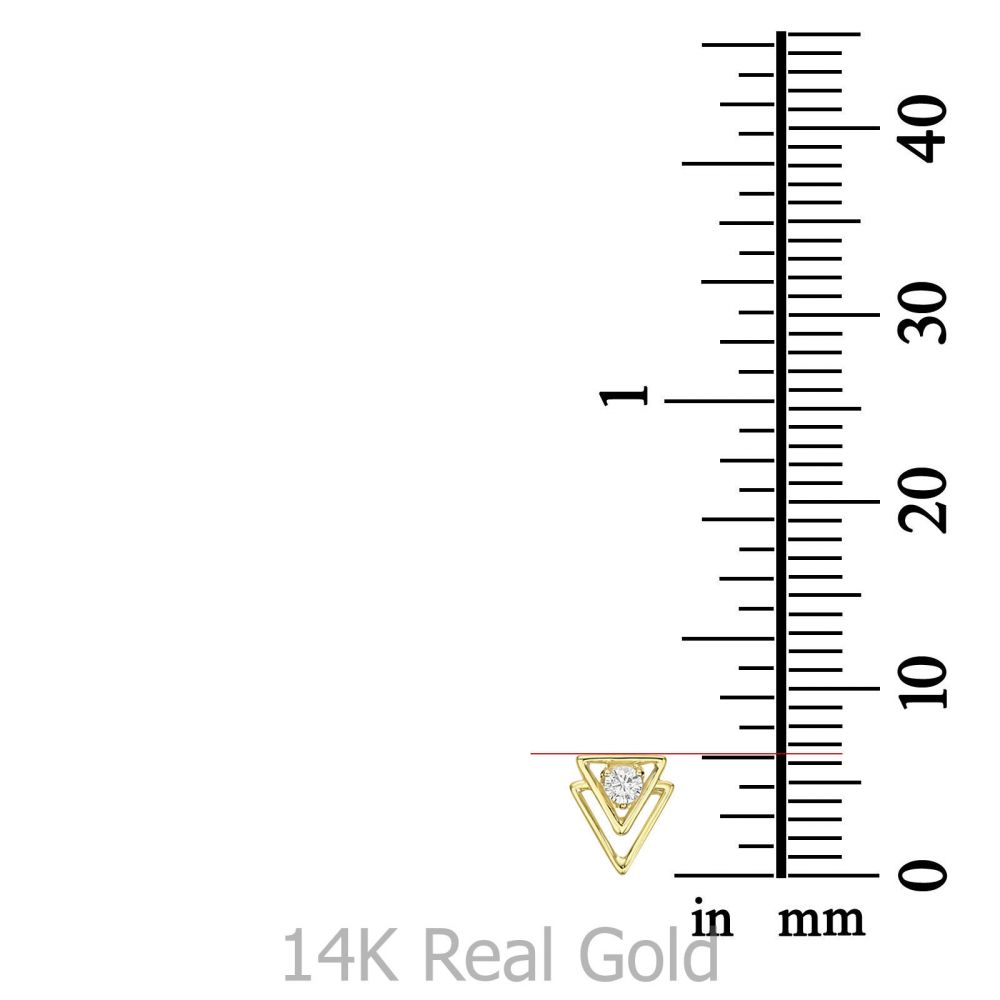 Women's Gold Jewelry   14K Yellow Gold  Stud Earrings - Pyramids