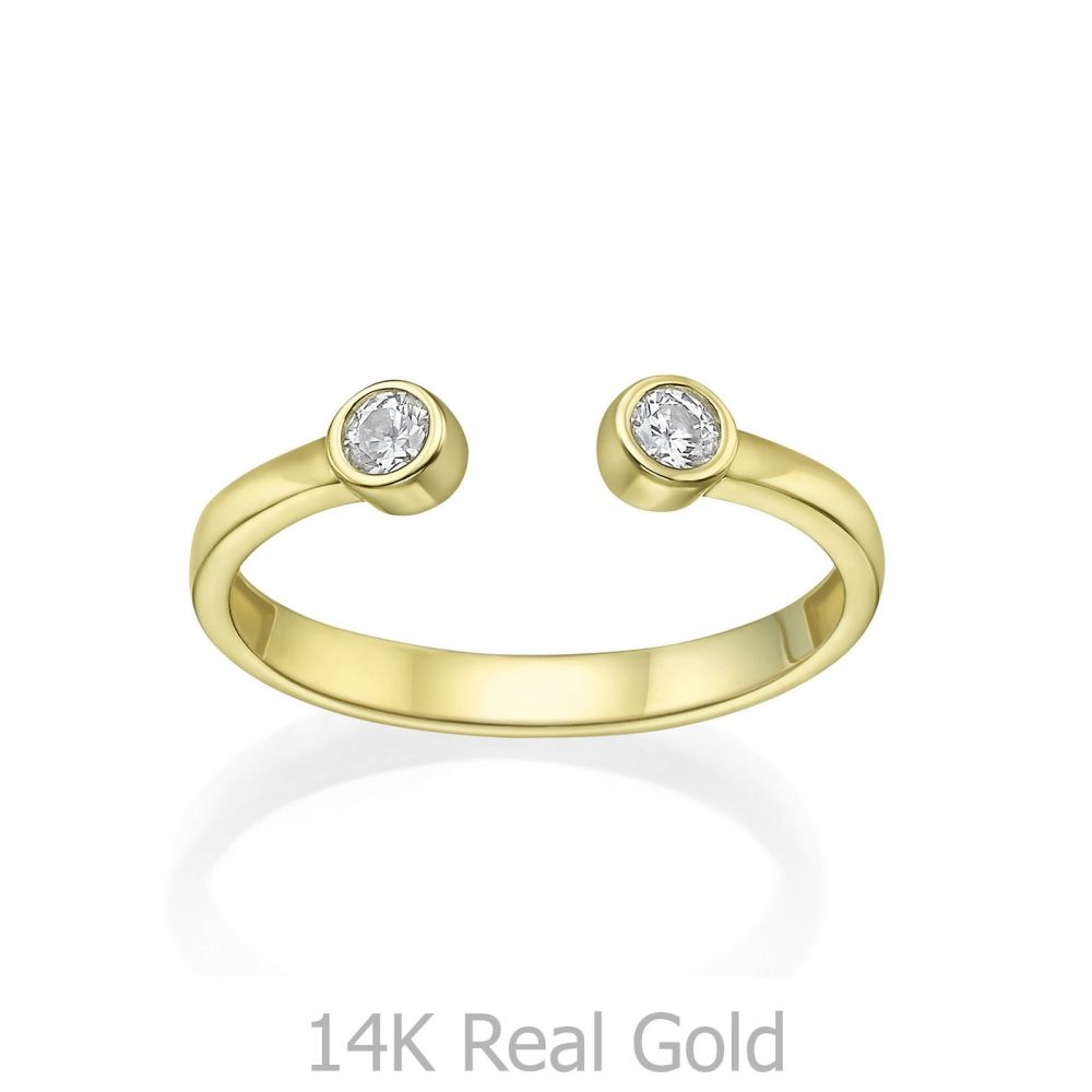 Women's Gold Jewelry | 14K yellow Gold Open Ring  - Shiny Dew balls