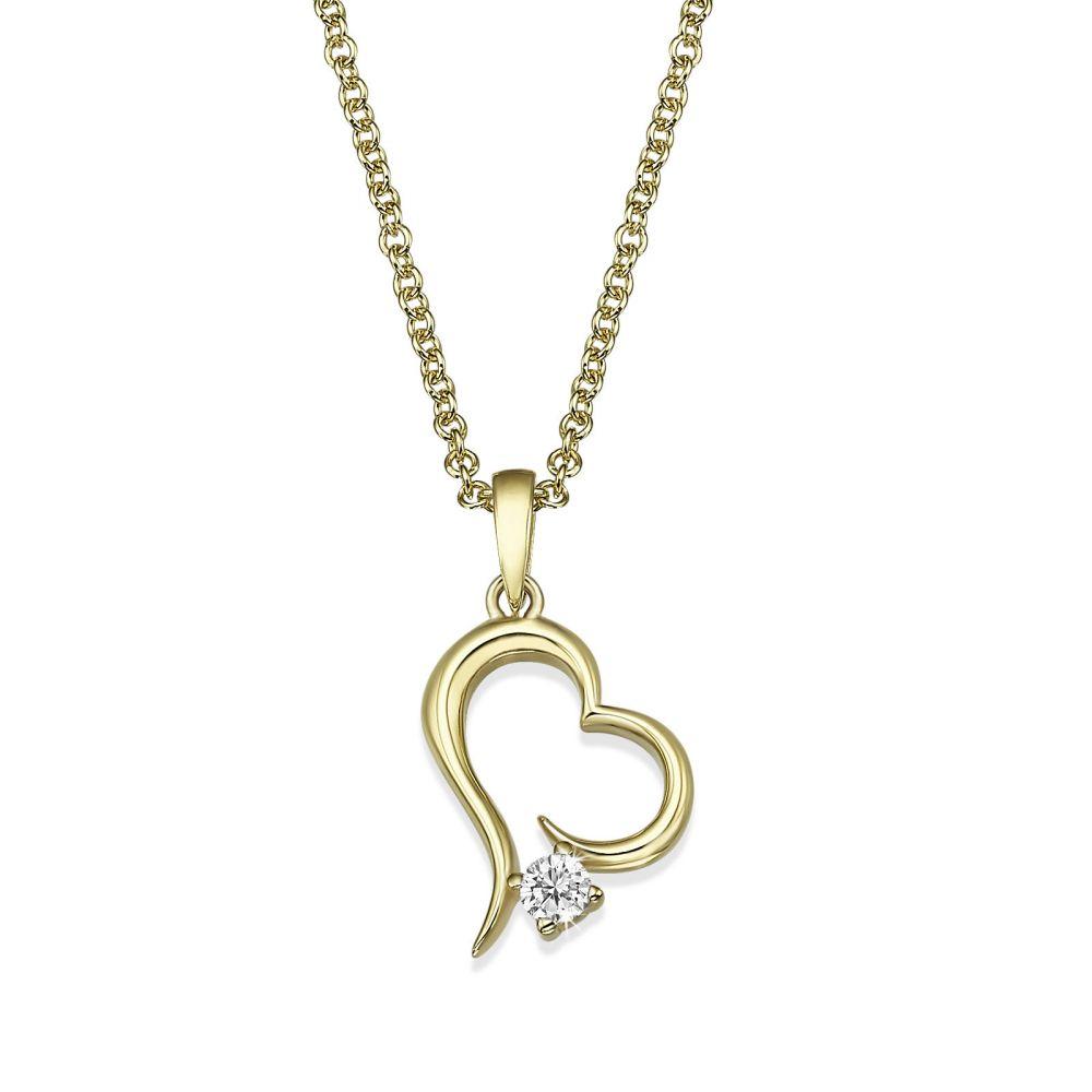 Women's Gold Jewelry | 14K Yellow Gold Diamond Women's Pendant - Heart of Atlantis