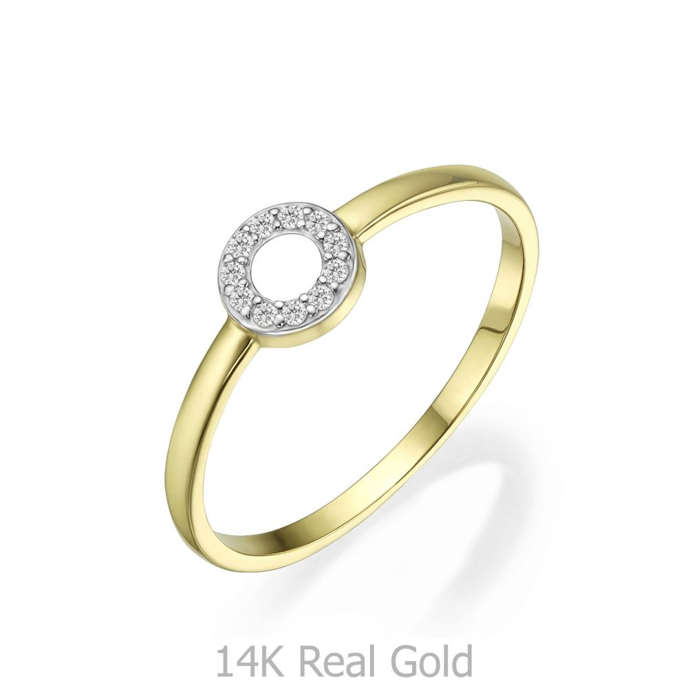 Women's Gold Jewelry | 14K Yellow Gold Rings - Shimmering circle