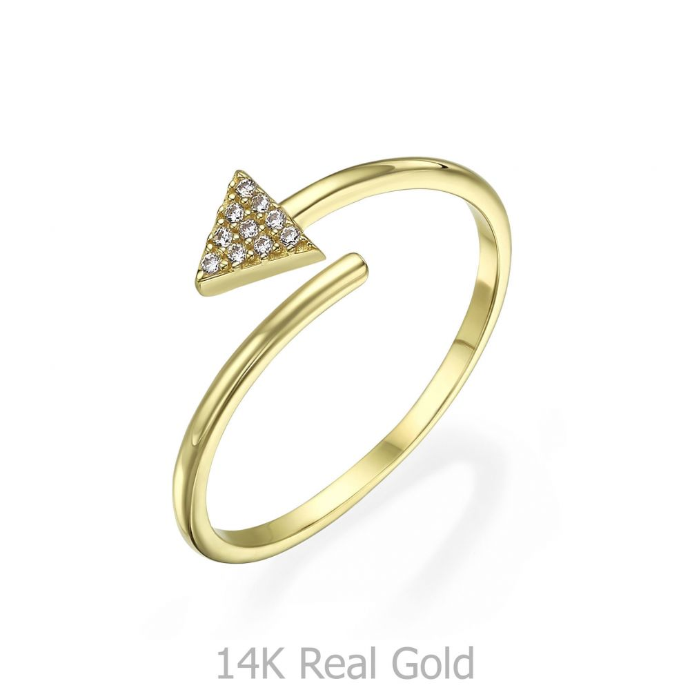 Women's Gold Jewelry | 14K Yellow Gold Rings - Shimmering arrow