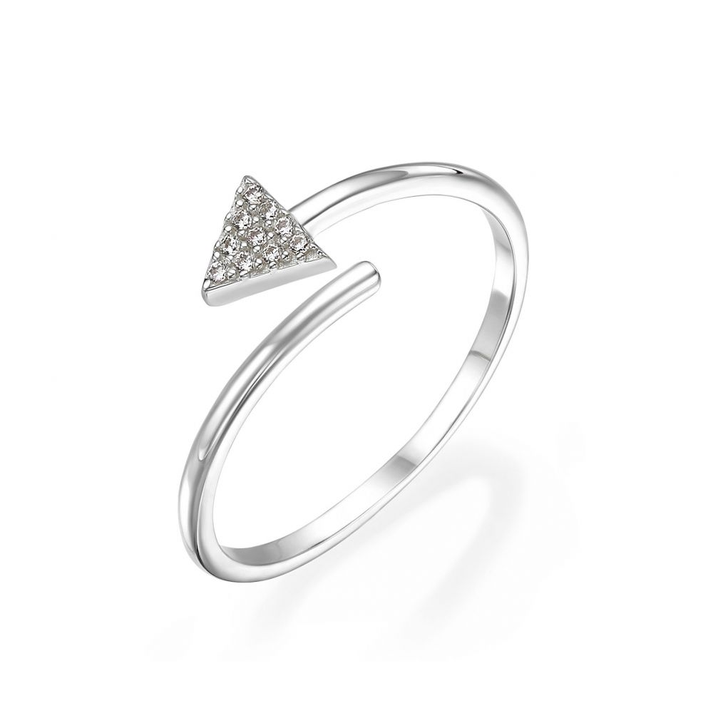Women's Gold Jewelry | 14K White Gold Rings - Shimmering arrow