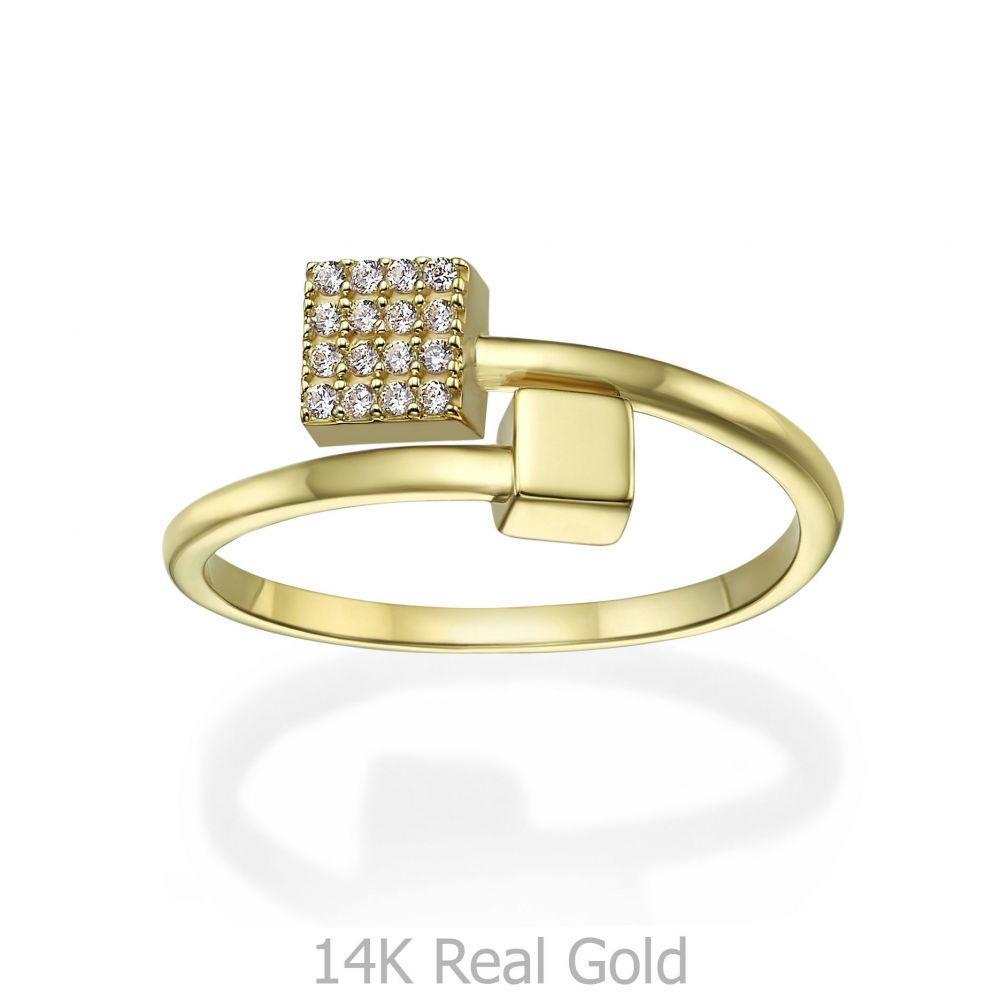 Women's Gold Jewelry | 14K Yellow Gold Rings - Shimmering cubes