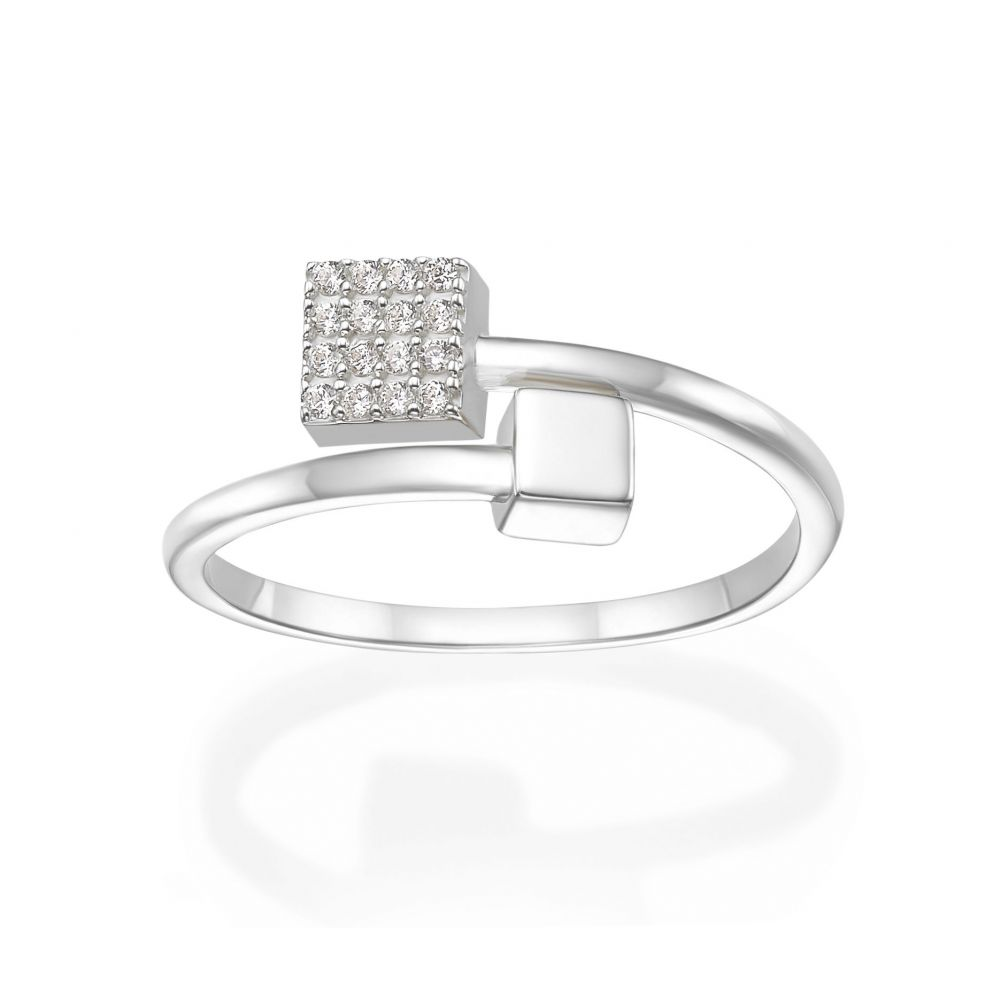 Women's Gold Jewelry | 14K White Gold Rings - Shimmering cubes