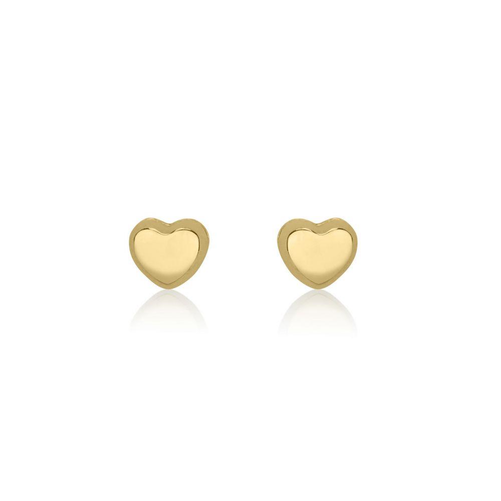 Girl's Jewelry | 14K Yellow Gold Kid's Stud Earrings - Classic Heart - Small