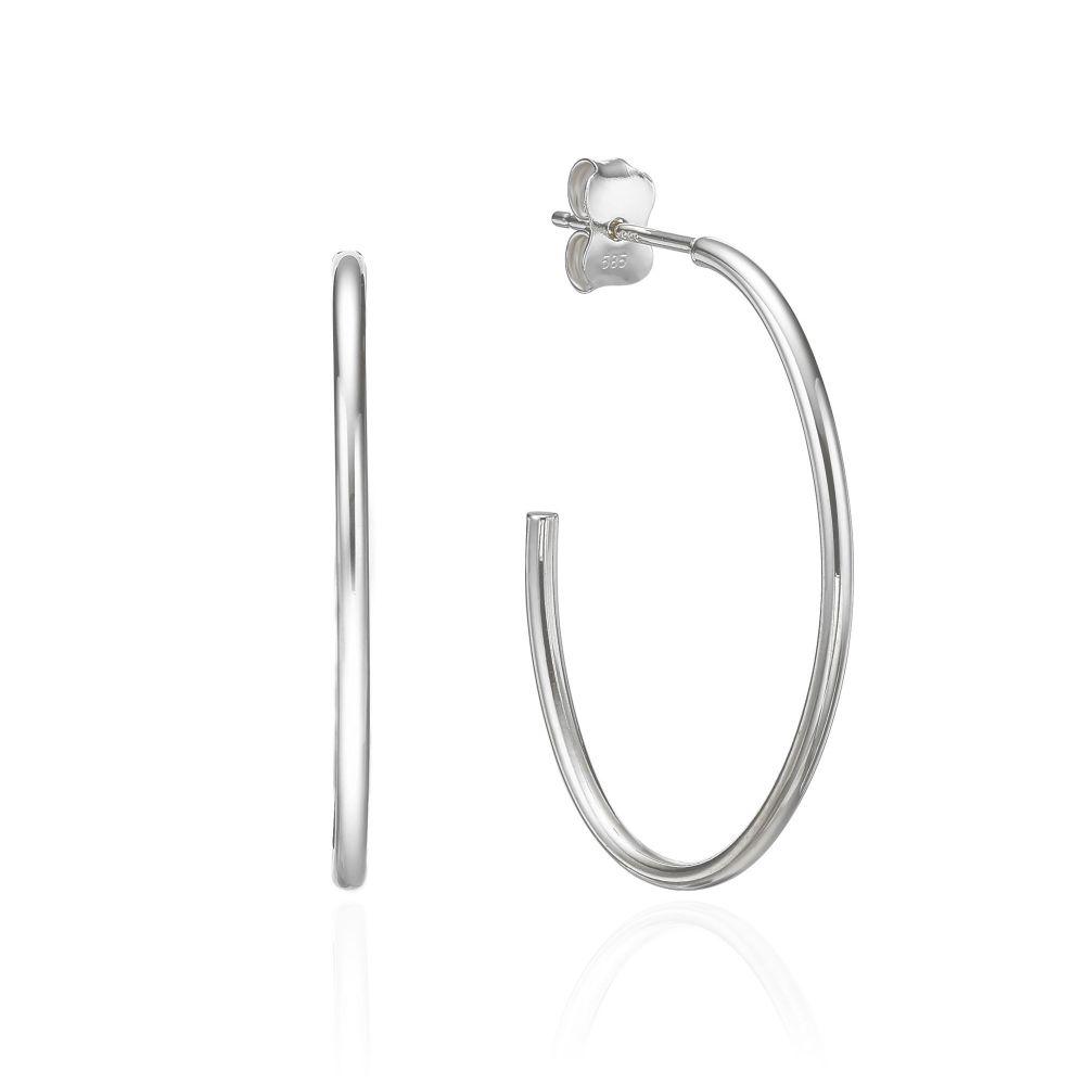 Gold Earrings | 14K White Gold Women's Earrings - Rio