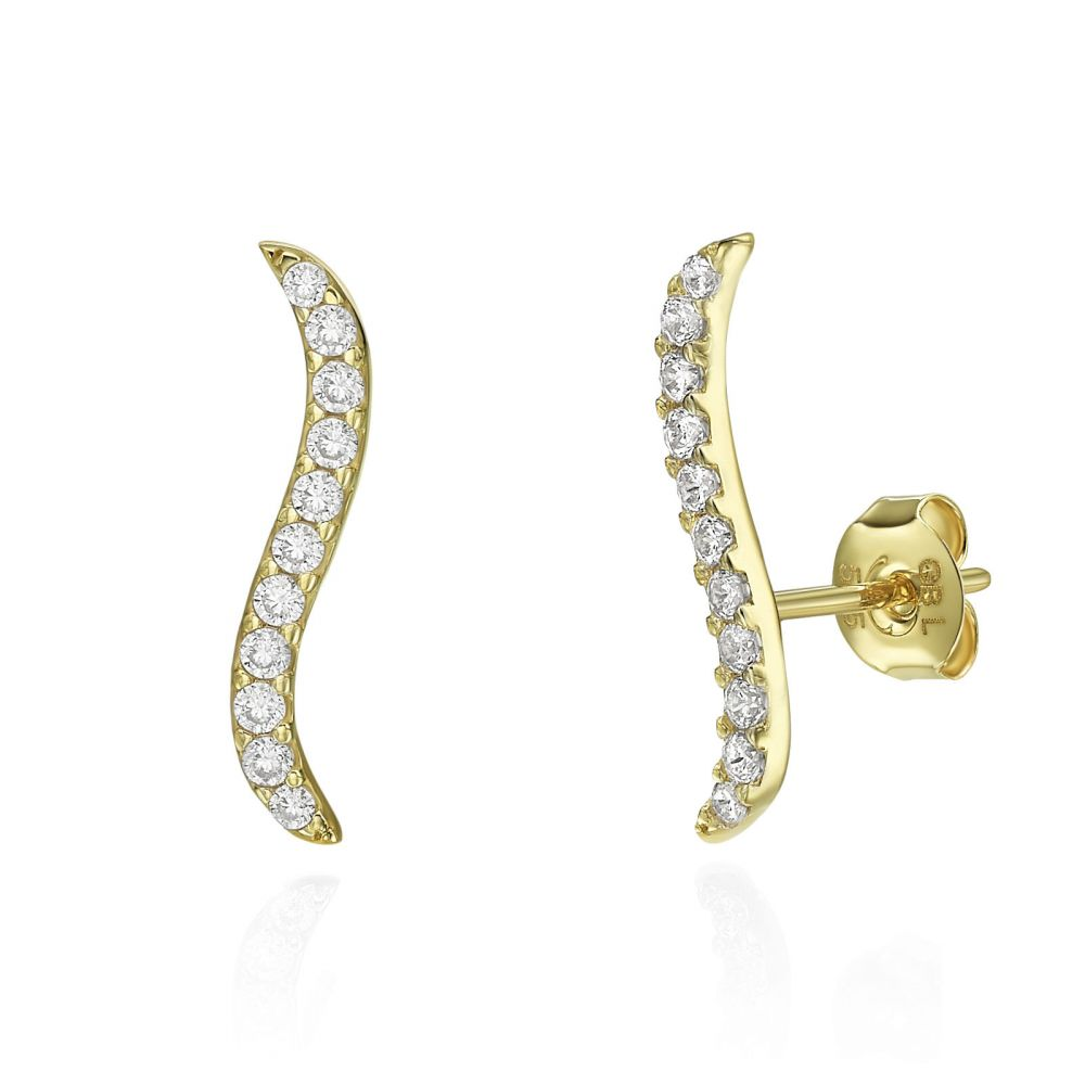 Gold Earrings | 14K Yellow Gold Women's Earrings - Hydra