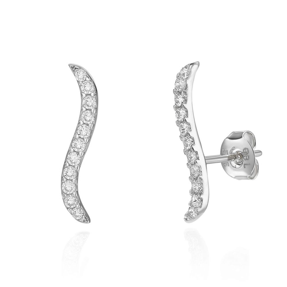 Gold Earrings | 14K White Gold Women's Earrings - Hydra