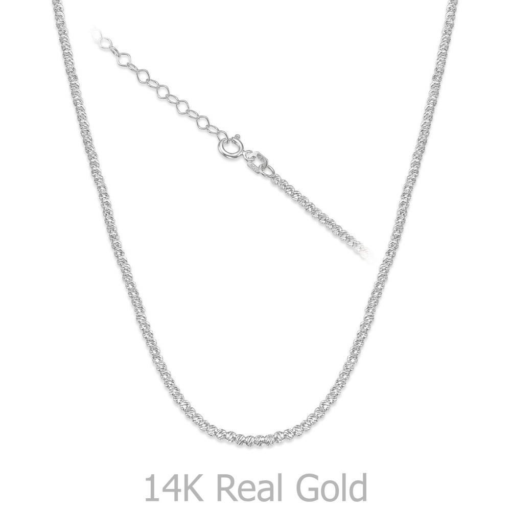 Gold Chains | 14K White Gold Balls Necklace - Balls