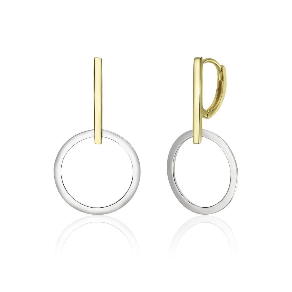 Gold Earrings | 14K White & Yellow Gold Women's Earrings - Mercury